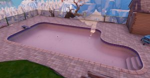 """""""Fortnite Season 10"""" Dance in Front of a bat statue, above ground pool, and Seat for Giants"""